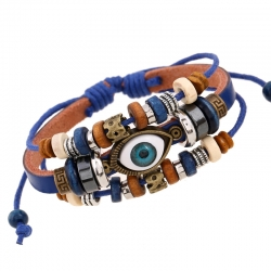 Jewelry New Beaded Eye Leather Bracelet Adjustable Couples Leather Bracelet European and American Jewelry