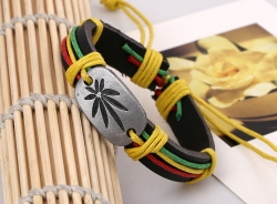 Red yellow green big maple leaf leather bracelet bracelet leather jewelry