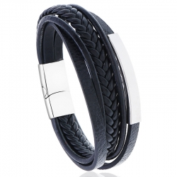 Stainless steel leather bracelet simple multi-layer cowhide retro woven titanium steel bracelet bracelet