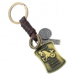 12 Constellation Vintage Woven Leather Keychain