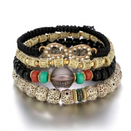 European and American foreign trade jewelry rice bead bodhi beaded multi-layer bracelet female handmade bohemian woven elastic bracelet