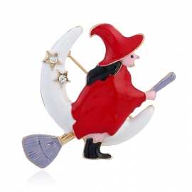 European and American clothing creative flying mop pin golden christmas witch brooch