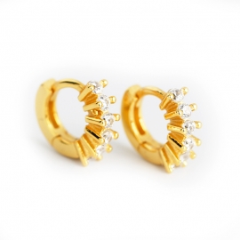Gold Micro Inlay Zircon Personality Trend S925 Sterling Silver Round Earrings Earrings Jewelry