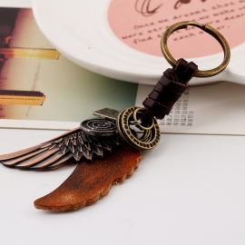 Atmospheric alloy wings leather keychain retro woven mens cowhide keychain
