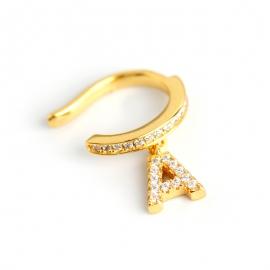 Diamond A Letter Ear Bone Clip Diamond Zircon Letter s925 Sterling Silver Ear Bone Earring Earrings