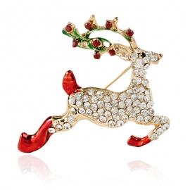 Cute animal deer diamond brooch Christmas sika deer boys corsage dual-use silk scarf buckle
