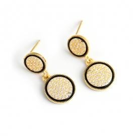 s925 sterling silver earrings gold round diamond earrings