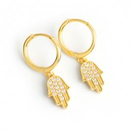 Golden diamond-shaped palm shape s925 sterling silver earrings earrings earrings earrings accessories earrings