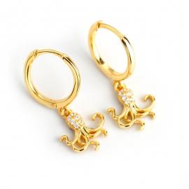 Earrings wild fashion diamond zircon octopus s925 sterling silver earrings earrings jewelry female