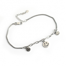 Small fresh Thai silver retro expression smiley s925 sterling silver bracelet bracelet female