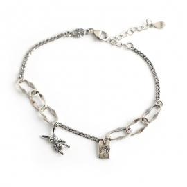 Retro distressed cartoon rabbit s925 sterling silver English alphabet card asymmetric bracelet bracelet female