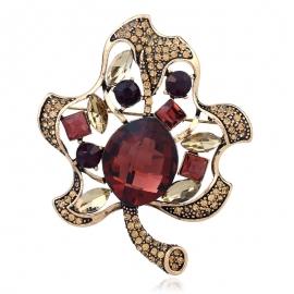 European and American fashion clothing creative fashion leaf brooch retro full diamond hollow brooch