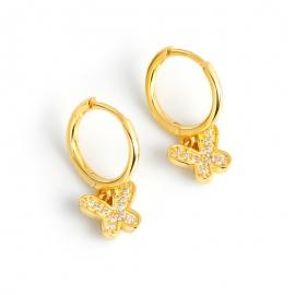 Accessories Butterfly Diamonds Golden S925 Sterling Silver Earrings Earrings Earrings