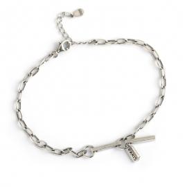 Retro distressed simple square strip brand s925 sterling silver bracelet bracelet female
