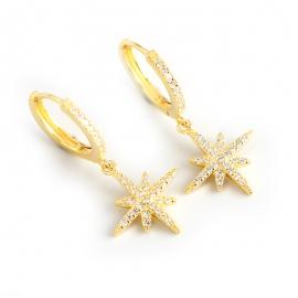 Gold diamond anise star s925 sterling silver earrings earrings glitter star earrings