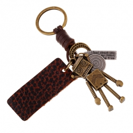 Hand-woven leather rope car keychain men and women couple key ring alloy robot leather pendant