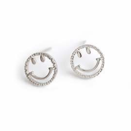 Cute Emoji Smiley s925 Sterling Silver Stud Earrings Simple Wild Small Fresh Earrings Earrings Female