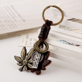 Alloy Maple Leaf Leather Keychain Retro Woven Mens Leather Keychain