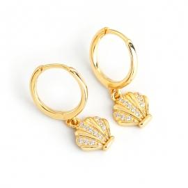New diamond-set zircon shell-shaped s925 sterling silver ear stud earrings earrings