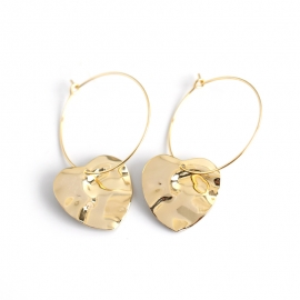 Love Heart Shaped Wave Surface S925 Sterling Silver Earrings Earring Pendant Female