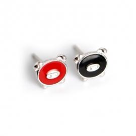 Student Cartoon Selling Cute Epoxy Black Red Cute Piglet S925 Sterling Silver Stud Earrings Jewelry Ear Stud Earrings
