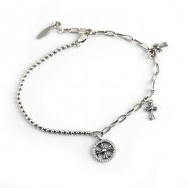 Vintage distressed bracelet Thai silver cross flower bead chain s925 sterling silver bracelet bracelet