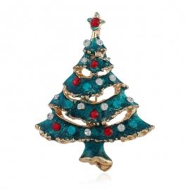 European and American fashion clothing creative dark green brooch golden Christmas tree brooch