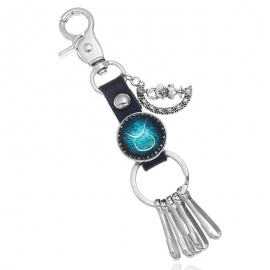 New European and American products 12 constellation cowhide key chain starry universe time gemstone key chain bag car pendant