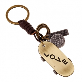 Alloy bronze scooter retro woven cowhide keychain key chain