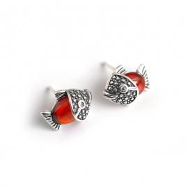 Vintage distressed small fish inlaid red stone s925 sterling silver earrings earrings natal year earrings jewelry female