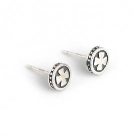 Retro distressed cross flower round s925 sterling silver earrings men and women can wear silver earrings