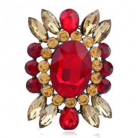 Glass diamond alloy brooch