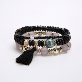 Cross-border hot-selling bracelet ladies bohemian rice bead beaded tassel bracelet ethnic style multi-layer sweet bracelet