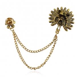 European and American fashion clothing creative chain pin ancient gold peacock tassel thorn horse pin