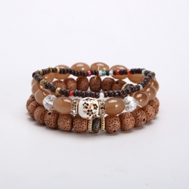 European and American cross-border ethnic style Bohemian multi-layer elastic combination rice bead beaded bracelet