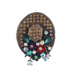 Fashion hipster hat crystal brooch