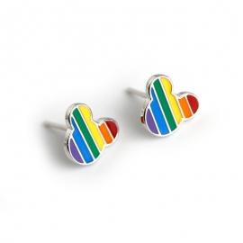 Small fresh accessories enamel rainbow Mickey Mickey Mouse s925 sterling silver earrings cartoon earrings