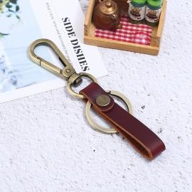 Vintage cowhide bronze keychain