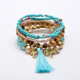 European and American vintage bohemian bracelet, multi-layer wooden bead pendant, butterfly tassel bracelet, hot on Amazon