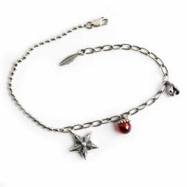 Distressed pendant pendant s925 sterling silver bracelet bracelet natal year redstone round bead chain jewelry
