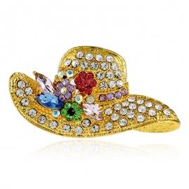 Fashion hat with diamond brooch pin
