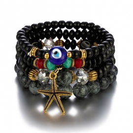 European and American trendy jewelry, Bohemian style, metal starfish, demon eye, accessories, temperament multi-layer bracelet