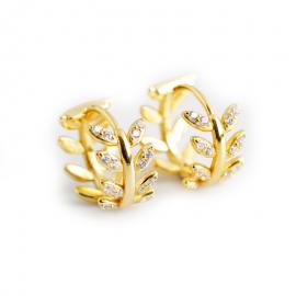 Light luxury exaggerated gold diamonds olive leaf s925 sterling silver earrings earrings earrings female