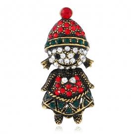 New creative gift diamond Christmas brooch, European and American retro cartoon image pin accessories
