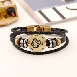 Twelve constellation cowhide bracelet simple multi-layer retro woven couple leather bracelet bracelet