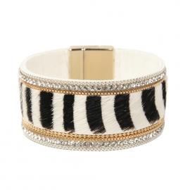 New beige zebra pattern bracelet bohemian style bracelet horsehair rhinestone bracelet jewelry