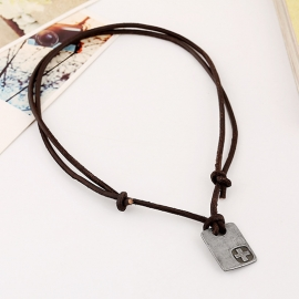European and American mens beach cowhide necklace alloy retro