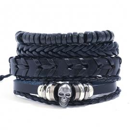 Skull Beaded Retro Leather Bracelet Men Woven DIY Set Leather Bracelet