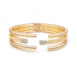 European and American fashion ladies bracelet gold-plated three-layer round smooth bracelet ribbed diamond bracelet foreign trade explosion
