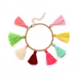 European and American cross-border fashion jewelry, exaggerated personality, Harajuku hit color tassel street style fashion female bracelet